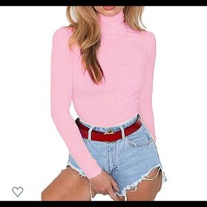 Pink turtleneck body suit